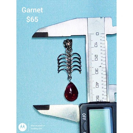 Pear shape Garnet in Sterling Silver Pendant.