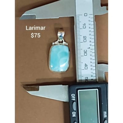 Beautiful Larimar from the Dominican Republic set in a Sterling Silver Pendant.