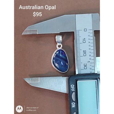 Dark Blue Australian Opal Freeform Sterling Silver Pendant.