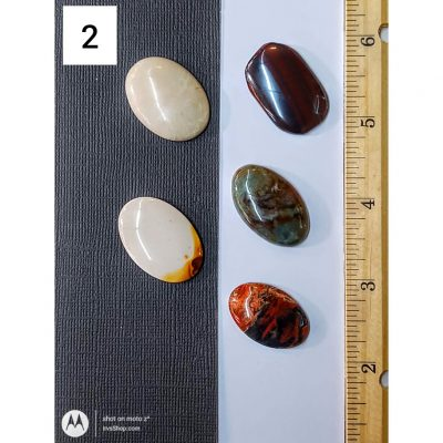 Five distinct cabochons