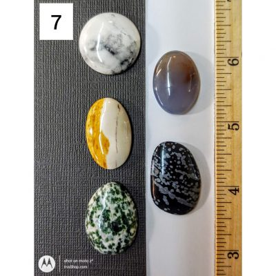 Five distinct cabochons for wire wrap or bezel setting.