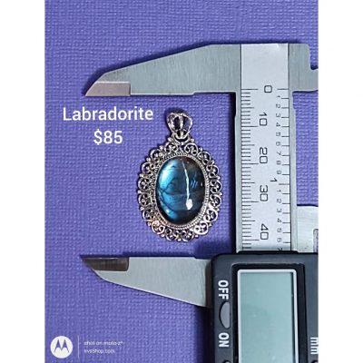 Rich blue Labradorite set in Sterling Silver Pendant.