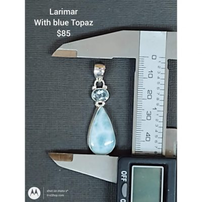 Larimar from the Dominican Republic is with blue Topaz in a Silver Pendant.